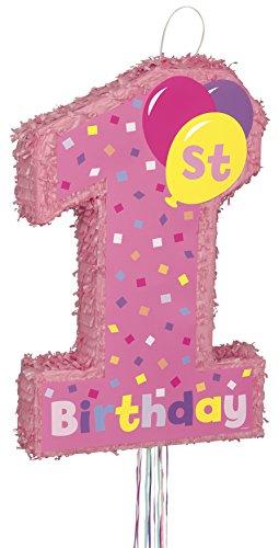 (Unique Party Supplies Piñata zum 1. Geburtstag (Aufschrift in englischer Sprache), mit Zugbändern, Rosa)