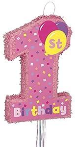 Unique Party- 66306-Piñata Primer Cumpleaños, para Tirar, Color rosa (66306)