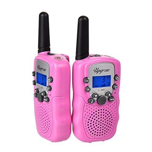 2x Walkie Talkies Set Kinder Funkgeräte 3KM Reichweite 8 Kanäle mit Taschenlampe Walki Talki Kinder (rosa)