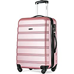 Flieks Hartschalen Handgepäck Reisekoffer Trolley Koffer mit 4 Rollen und Zahlenschloss, XL-L-M(L, Pink)