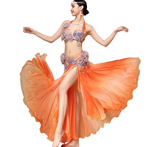 Rongg Damen Bauchtanz Outfits Perlen BH-Rock-Set Fee Bauchtanz Performance Kostüm Handgemachte Blumen Ägyptischer Pokal 2 Stück, Orange, One Size