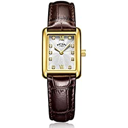 Rotary Women's Quartz Watch with Silver Dial Analogue Display and Brown Leather Strap LS00653/21