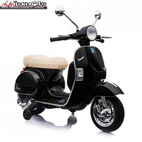 Tecnobike Shop Moto Scooter Elettrico per Bambini Ufficiale Piaggio Vespa PX 150 12V con Rotelle Sella in Pelle Nero/Beige Crema (Nero)