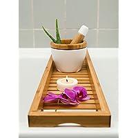 Portaoggetti da vasca tipo mensola + mortaio con pestello in bambù, 70 x 14,5 cm, 12,4 x 10 cm