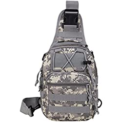 Zhhlinyuan Tactical Shoulder Bag Molle Crossbody Sling Chest Pack Daypack Outdoor Backpack for Caza Camping Riding Trekking Travelling