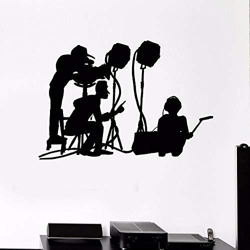 Dwqlx Neues Design Wandtattoo Film Machen Crew Wandbild Film Kino Vinyl Kunst Dekoration Movie Maker Silhouette Wandkunst Aufkleber 83 * 57 Cm (Machen Halloween Fenster Silhouetten)