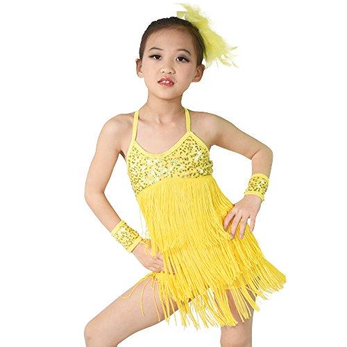 MiDee 3 Farben Hemdchen, Oder So Was Pailletten Quasten Latin Dress Tanz Kostüm (XLA, (Latin Tanz Kostüme Adult)