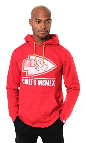 Icer Brands NFL Herren Fleece-Pullover Hoodie Sweatshirt Gesticktes Team-Logo, Kansas City Chiefs L/S Pullover Applique Hoodie, rot -