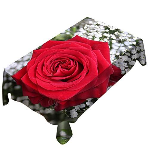 Vovotrade ❤ san valentino rose print tovaglia rectangle table cover romantico creativo decorazioni per la casa per feste