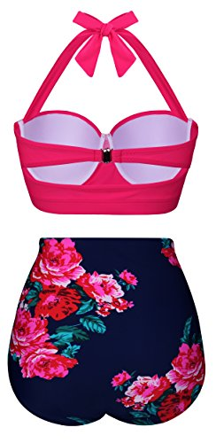 Angerella Damen Retro Stil Polka-Punkt mit Hoher Taille Badeanzug Bikini Set Rosa(Floral)