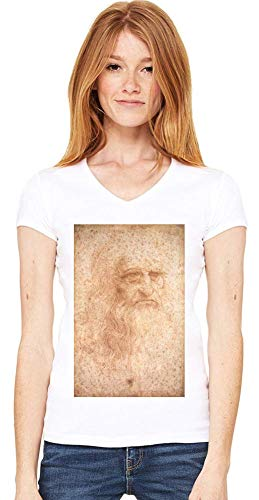 Top Paintings of All Time Leonardo da Vinci - Portrait of a Man in Red Chalk Painting Women V-Neck T-Shirt Stylish Fashion Fit Custom Apparel by XX-Large -