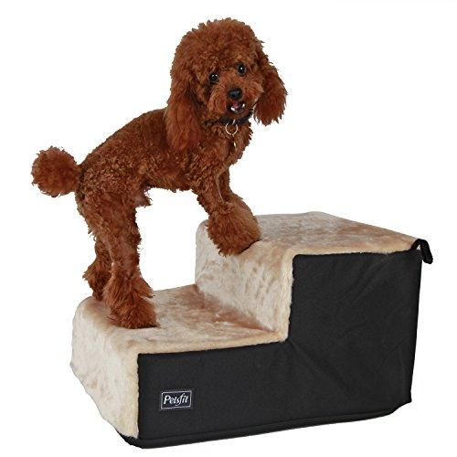 Petsfit Hundetreppe mit 2 Stufen. Einfache Stufen mit Vlies-Bezug - leichte, tragbare Haustier-Treppe mit weichem, waschbareren Bezug - ideale Rampe für ältere oder kleinere Hunde - Beige, 46 x 35 x 26 cm