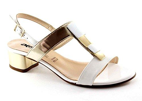 Melluso K35074 Blanc Femme En Cuir Verni Chaussures Blanc Buckle Sandales À Talons