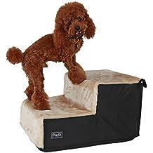 Petsfit Escalera para perros de 2 Pasos, Escalera para mascotas fácil de montar, Escalera portátil ligera para mascotas con tapa lavable de peluche suave, Rampa ideal para perros mayores o pequeños, Beige, 46cm x 35cm x 26cm