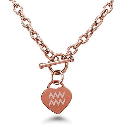 Acciaio Inossidabile Acquario Simbolo di Astrologia Heart Charm Bracciale e Collana