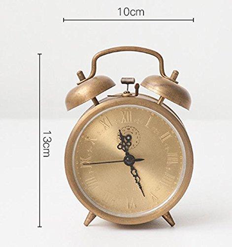 KHSKX Student kreative Nachttisch Wecker, Retro-gewundenen Uhrwerk Wecker, Stimme von reinem Kupfer mechanische Wecker , ] double (Uhrwerk Kostüme)