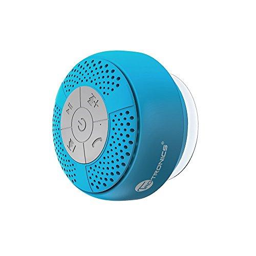 TaoTroncis Altavoz Bluetooth Ducha Impermeable Inalámbrico con Ventosa (A2DP Estéreo, IPX4, hasta 6 Horas de Reproducción) Perfecto al Baño, Piscina (Azul)