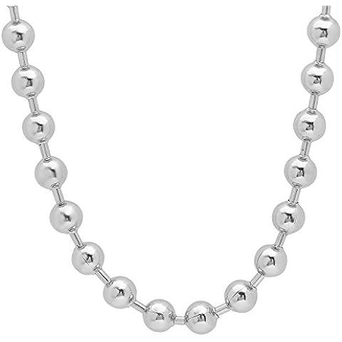 8 mm, in acciaio inossidabile, collana di (Shiny Silver Beads)