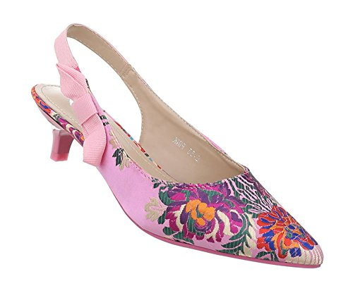 Damen Schuhe Pumps Kitten Heels Stiletto Sandalette Partyschuhe Elegante Abendschuhe Rosa Multi 37