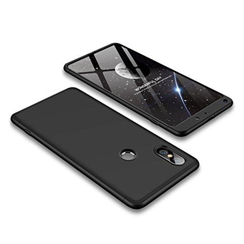 XiaoMi Mi Mix 2S Hülle, 3 in 1 Abnehmbare Anti-Kratzer Hart PC Handyhülle, 360° Full Body Stoßfest Schutzhülle für XiaoMi Mi Mix 2S (Schwarz)