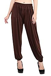 Myshka Womens Brown Purple Red Solid Cotton Lycra Harem Pants (Pack Of 3) _HM030406-free