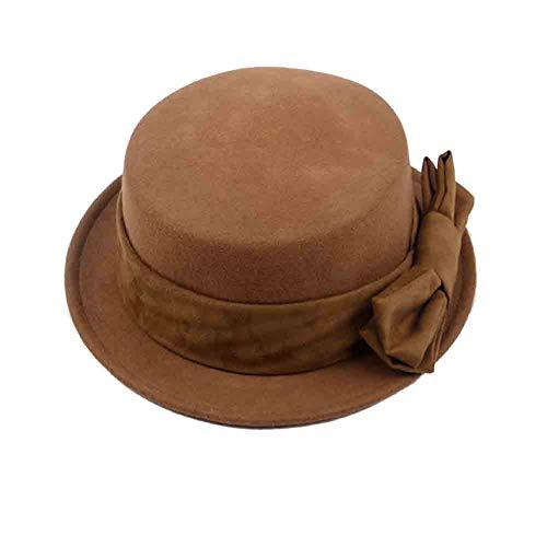 SUN Frauen Cloche Hut Normallack Flache Hut Naturfaser Mütze Eimer Mit Bowknot Herbst Und Winter -