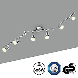 LED Deckenlampe 6 Spots Schwenkbar Kimjo, LED Deckenstrahler inkl. 6 x 6W Warmweiß 550LM 82Ra 230V GU10 Leuchtmittel Metall Matt Nickel Deckenleuchte Küche