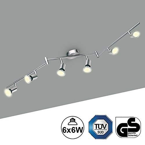 Plafonnier LED 6 Spots Orientables Kimjo 6 x 6W Blanc Chaud 550LM Spots Plafond LED Equivalent 54W, GU10 82Ra 230V Nickel Mat Applique Plafond Salon Salle à Manger Chambre Cuisine Coulo