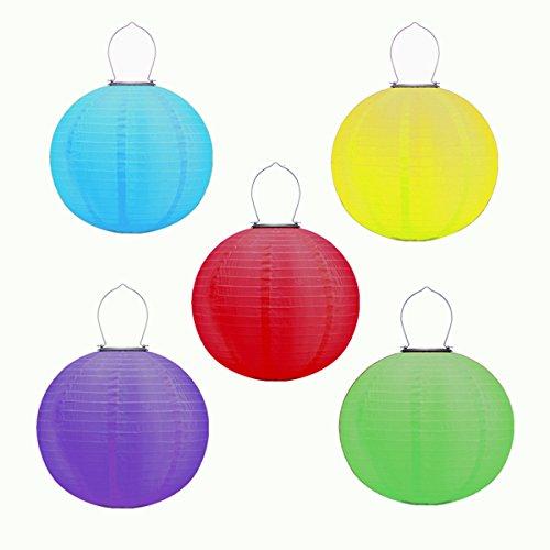 30,5 cm cinesi lanterne solari da appendere lanterne in nylon con luci a led a energia solare rotondo multicolore lanterna da appendere luci per decorazione, metallo plastica