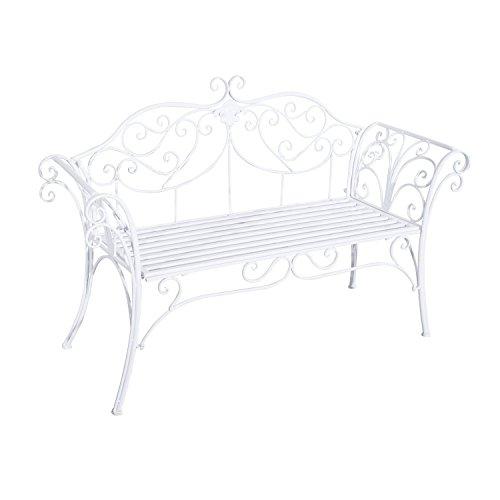 Outsunny Gartenbank, Metall, weiß, 134 x 51 x 89 cm, 840-053 - 4