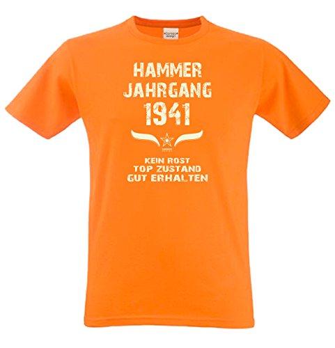 Modisches 76. Jahre Fun T-Shirt zum Männer-Geburtstag Hammer Jahrgang 1941 Bequemes Oberteil zum Jubeltag Farbe: orange Orange
