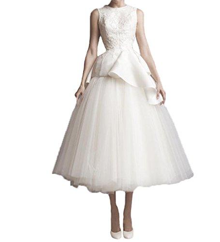 Brautkleid Tee-länge Spitze (O.D.W Frauen Tee Laenge Spitze Brautkleider Party Ballkleider Rustikale Hochzeitskleider(Weiß 4, 32))