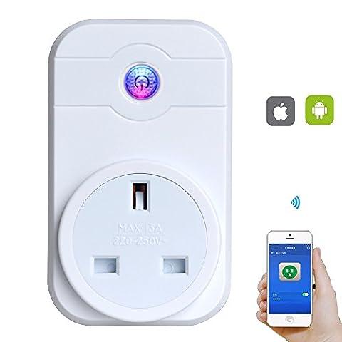 azlife WiFi Smart Plug, intelligente Steckdose Schalter Funk Timer-Steckdose Fernbedienung Drehen auf/aus Elektronik über Smartphones IOS/Android App (Gfci Steckdose)