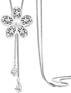 Merdia Schmucksache-Frauen-Form-Simulierter Kristall Und Verursachte Perlen-Hängende Lange Ketten-Strickjacke-Halskette