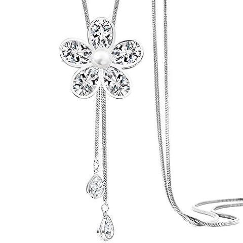 Merdia Schmucksache-Frauen-Form-Simulierter Kristall Und Verursachte Perlen-Hängende Lange