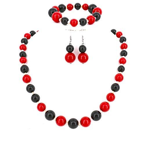 Damen-Schmuckset Halskette Ohrringe Armband Perlen Rot - Kostüm Kleiderschrank Stunden
