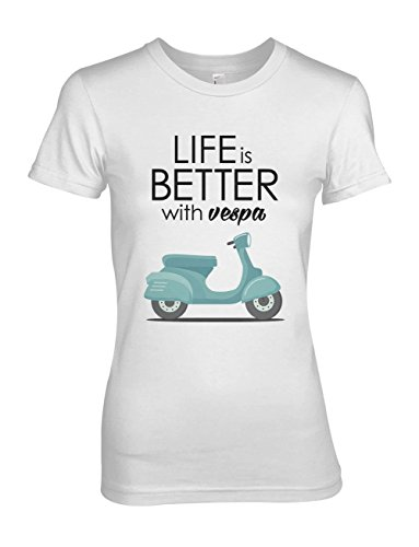 Life Is Better With Vespa Scooter Moped Damen T-Shirt Weiß Medium (Vintage Damen Logo Crewneck)