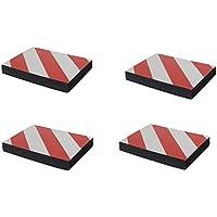 SNS SAFETY LTD FWP2418RWNx4 Protectoras paragolpes de pared parking, autoadhesivas, fabricado en grueso goma espuma, para aparcamientos, industrias, garajes y almacenes, 24x18x3 cm, color rojo/blanco (Paquete de 4 piezas)