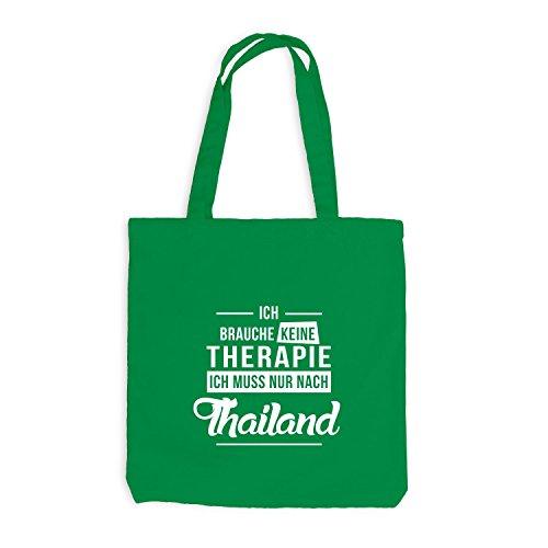 Jutebeutel - Ich Brauche Keine Therapie Thailand - Therapy Urlaub Thai Kellygrün