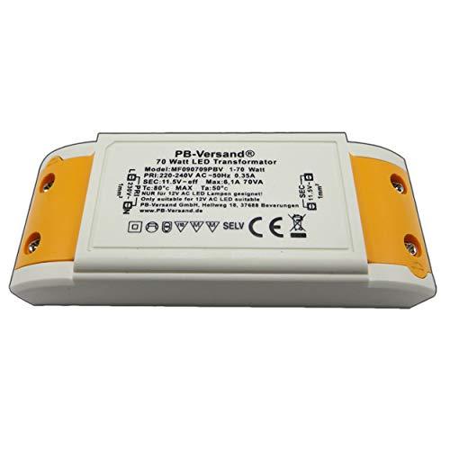 LED Trafo 1-70 Watt 12V~ AC (klein und kampakt) - Transformator - Hochleistungstrafo für G4, GU4, GU5.3, MR16, MR11 Leuchtmittel Spots und mehr -