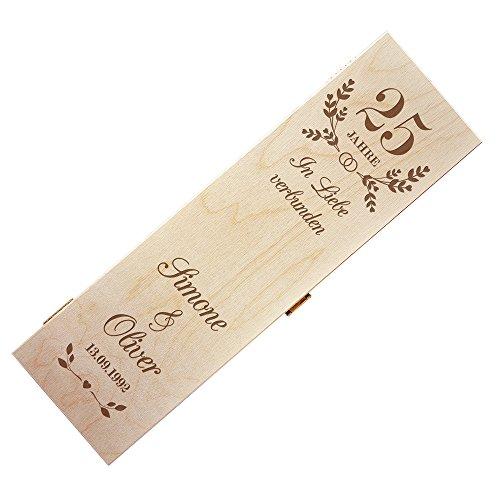 Weinkiste aus Holz zur Silberhochzeit mit Gravur – Personalisiert mit [NAMEN] und [DATUM] – Geschenkverpackung für Weinflaschen – Weinbox Geschenk zur Silberhochzeit – Romantisch – für Paare