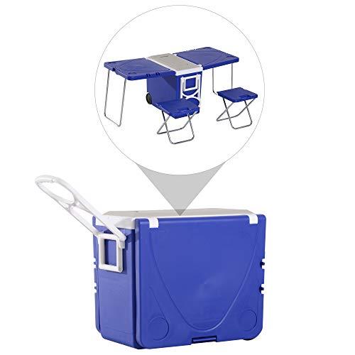 Outsunny Kühlbox mit Rollen 28 l tragbar Camping 3-in-1-Set mit 1 Seitentisch + 2 Hocker klappbar