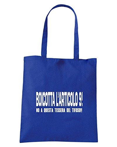 T-Shirtshock - Borsa Shopping TUM0157 boicotta l articolo 9 Blu Royal
