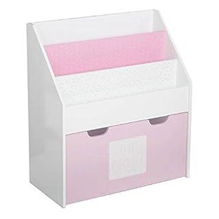 2 in 1: Bücherregal + Kiste mit Stauraum aus Holz, für Kinder – Farbe ROSA und WEIß
