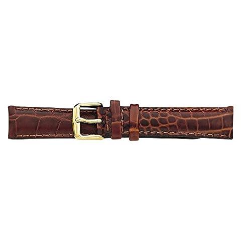 19mm Havana Croc Chrono goldfarbene Schnalle Armbanduhr Band, beste Qualität