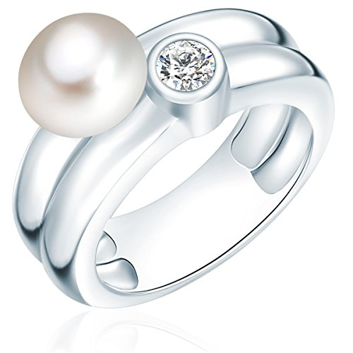 Valero Pearls Damen-Ring 925 Silber rhodiniert Zirkonia Perle Süßwasser-Zuchtperle Weiß Gr. 60 (19.1) - 609250316