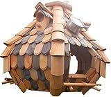 Naturholz-Schreinermeister Großes Luxus Solar Licht Vogelhaus Holz Bunt Vogelfutterhaus Vogelhäuschen K32S LED (Braun/Dunkelbraun)