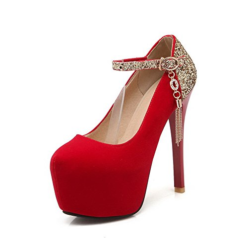 AllhqFashion Damen Blend-Materialien Stiletto Rund Zehe Rein Schnalle Pumps Schuhe Rot
