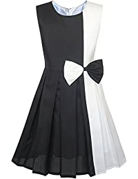 Girls Dress Color Block Contrast Bow Tie Everyday Party Age 4-14 Years 9de9d230b