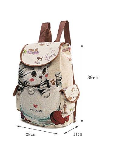 Mädchen cute Cat bag Canvas Schultertasche mit Stickerei-Rucksack Leinwand Umhängetasche Schul Bookbag 840a